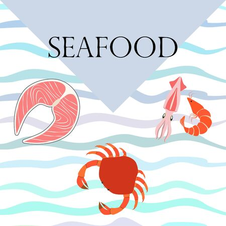 Fish, shrimp, crab, squid.Vector seafood. Food and restaurant design. Çizim