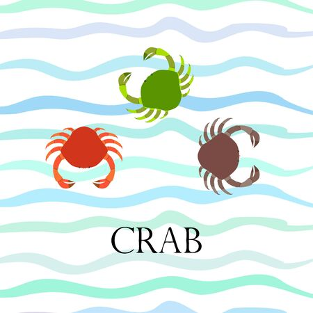 Crabs. Seafood. Vector illustration of a sea animal. Illustration