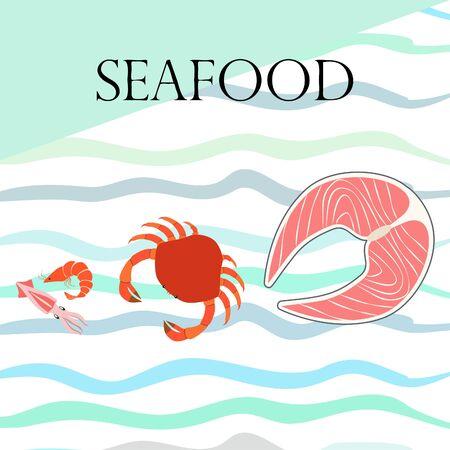 Fish, shrimp, crab, squid.Vector seafood. Food and restaurant design. Illusztráció