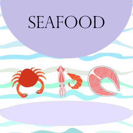 Fish, shrimp, crab, squid.Vector seafood. Food and restaurant design. Çizim