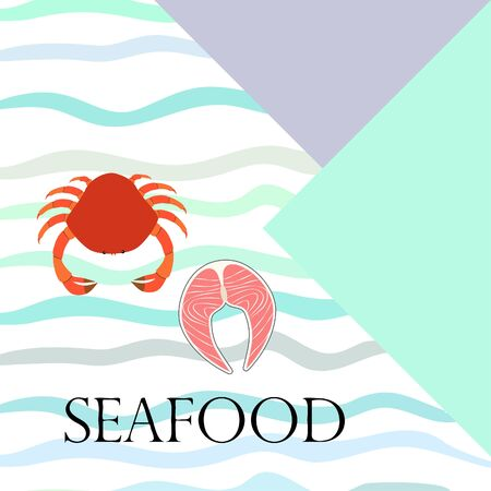 Fish, shrimp, crab and squid.Vector seafood. Food and restaurant design.