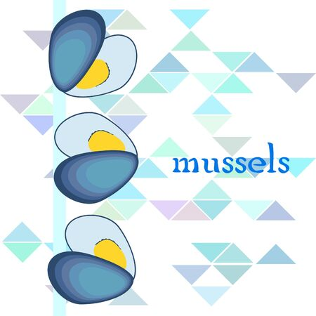 Mussels fresh seafood. Vector backgroung. Food and restaurant design.