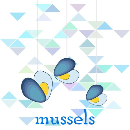 Mussels fresh seafood. Vector backgroung. Food and restaurant design. 写真素材 - 133328855