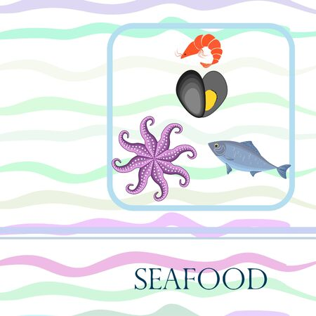 Seafood vector illustration. Fresh sea fish, mussel, shrimp, octopus.