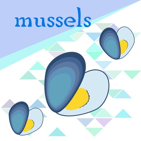 Mussels fresh seafood. Vector background. Food and restaurant design.