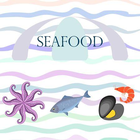 Seafood vector illustration. Fresh sea fish, mussel, shrimp, octopus.