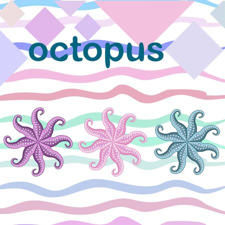 Octopus fresh seafood. Vector backgroung. Food and restaurant design.