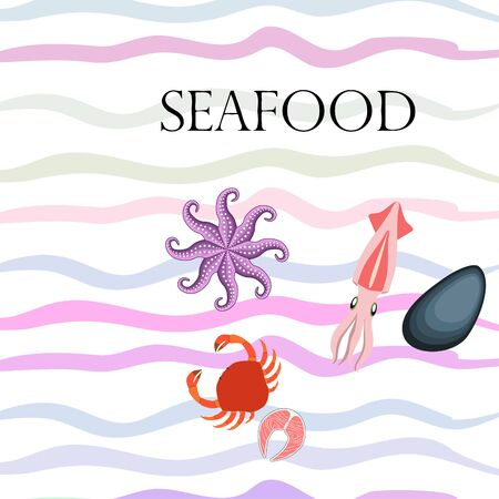 Squid, mussels, crab, fish, octopus. Fresh seafood. Vector background. Restaurant design. Иллюстрация
