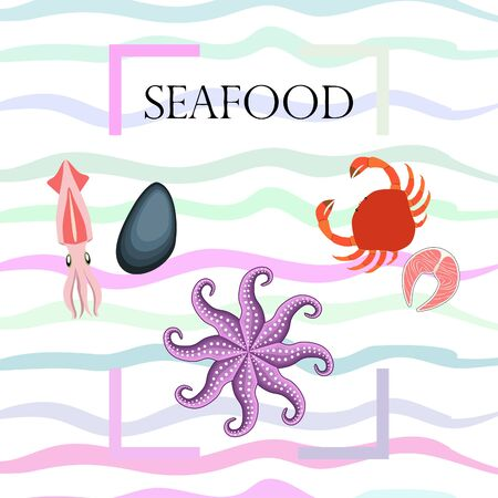 Squid, mussels, crab, fish, octopus. Fresh seafood. Vector backgroung. Restaurant design. Çizim