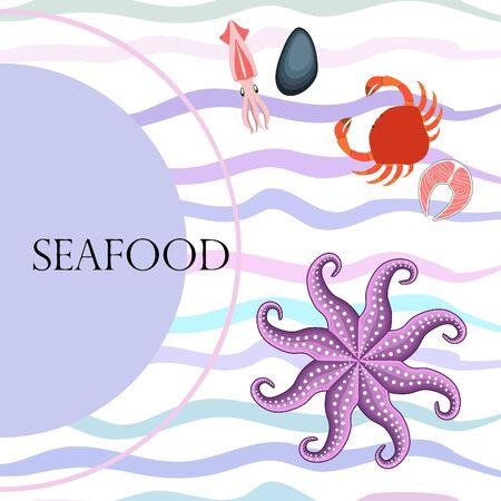 Squid, mussels, crab, fish, octopus. Fresh seafood. Vector backgroung. Restaurant design. Illustration