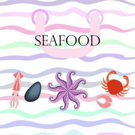 Squid, mussels, crab, fish, octopus. Fresh seafood. Vector background. Restaurant design. 向量圖像