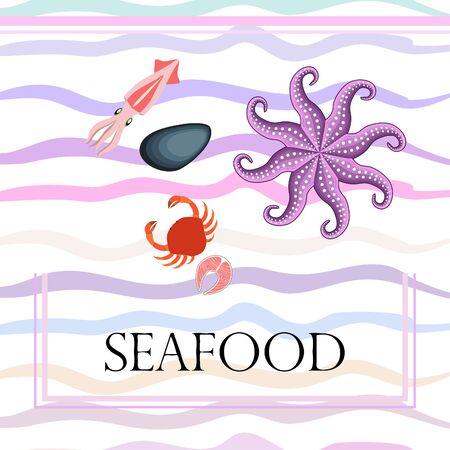 Squid, mussels, crab, fish, octopus. Fresh seafood. Vector background. Restaurant design. Illustration