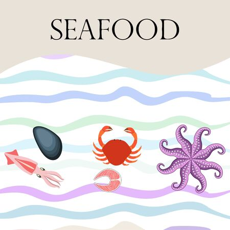 Squid, mussels, crab, fish, octopus. Fresh seafood. Vector backgroung. Restaurant design. Çizim