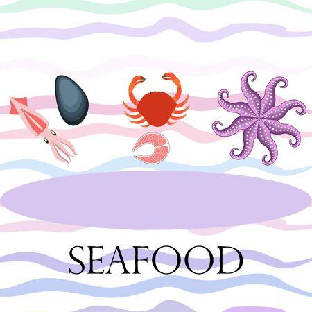Squid, mussels, crab, fish, octopus. Fresh seafood. Vector backgroung. Restaurant design. Illusztráció