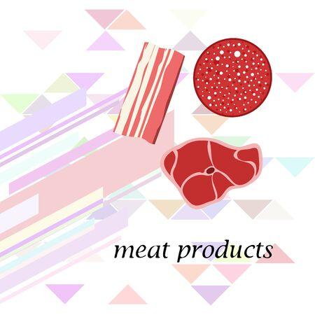 Sausage, steak, bacon, fresh meat. Image for farm shop concept. Vector background.