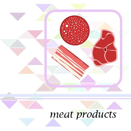 Sausage, steak, bacon, fresh meat. Image for farm shop concept. Vector background. Çizim