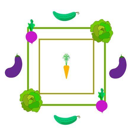 Cabbage, beet, carrot, eggplant, cucumber, fresh vegetables. Organic food poster. Farmer market design. Vector background.
