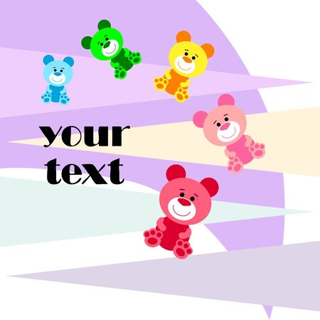 Color vector bear, baby picture, cartoon character, vector background. Ilustração