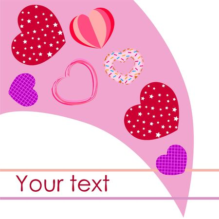 Abstract romantic background with hearts. Vector backdrop for Valentine's day. Foto de archivo - 129720513