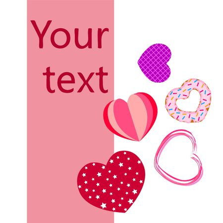 Abstract romantic background with hearts. Vector backdrop for Valentines day.