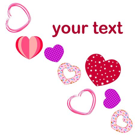 Abstract romantic background with hearts. Vector backdrop for Valentine's day. Foto de archivo - 129721698