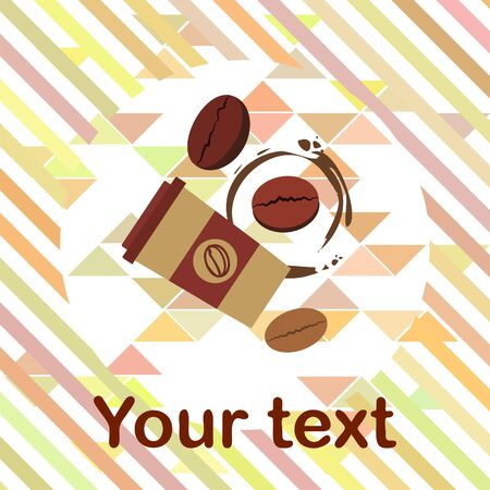 Coffee cup, coffee grains, breakfast concept. Drinks menu for restaurant, vector background.  イラスト・ベクター素材