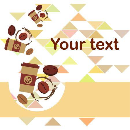Coffee cup, coffee grains, breakfast concept. Drinks menu for restaurant, vector background. Illusztráció