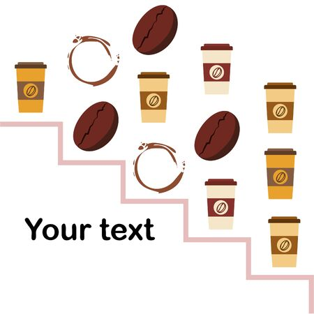 Coffee cup, coffee grains, spilled coffee. Breakfast concept. Drinks menu for restaurant, vector background.