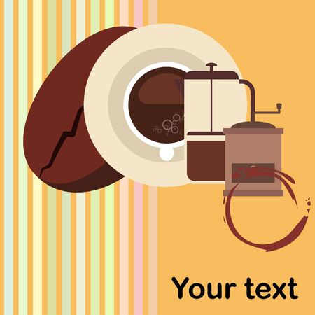 French press coffee, coffee beans, spilled coffee, vector illustration. Design elements for a cafe. Vector background.