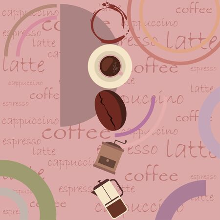 Coffee bean, cup, coffee grinder, french press. Design elements for a cafe. Vector background.