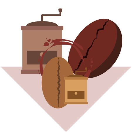Coffee bean, coffee grinder. Design elements for a cafe. Vector background.