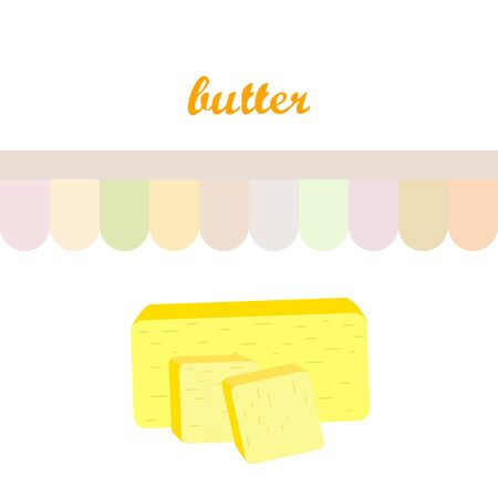 Vector yellow stick of butter. Slices of margarine or spread, fatty natural dairy product. High-calorie food for cooking and eating.