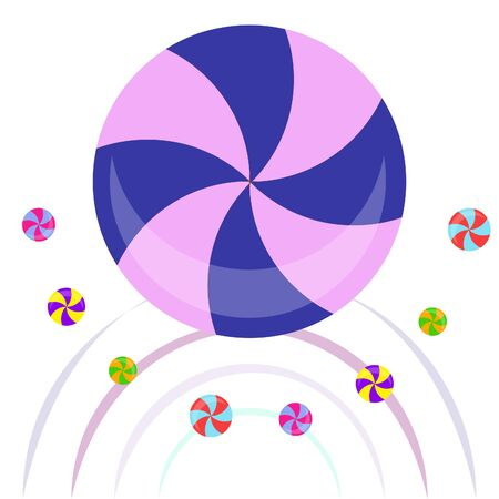 Colorful lollipops on pastel background in flat style design. Vector background cute candy. Çizim