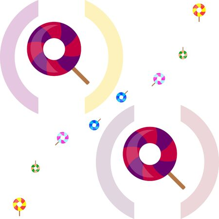 Lollipops collection. Candy on stick with twisted design. Vector illustration