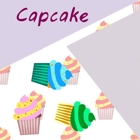 Capcake baking cream berry sweetness dessert. Colorful elements for the menu collection of cafes and restaurants. merry holiday. Illustration