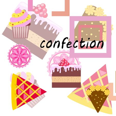 Confection vector set. Cakes and cookies illustration