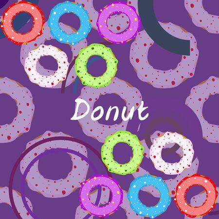 Donuts with pink, chocolate, lemon, blue mint glaze. Vector background. Standard-Bild - 129857662