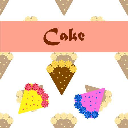 Birthday cake and chocolate cake, cut slice. Vector illustration.