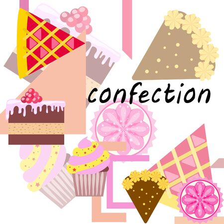 Confection vector set. Cakes and cookies illustration. Vector Illustratie
