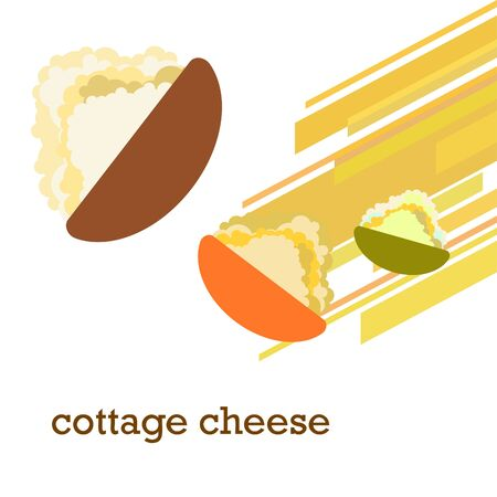Fresh cottage cheese, dairy products, vector background.