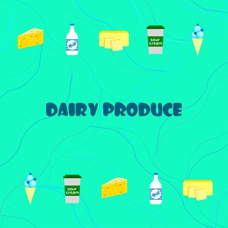 Milk sour cheese ise cream butter. Vector illustration of dairy products.