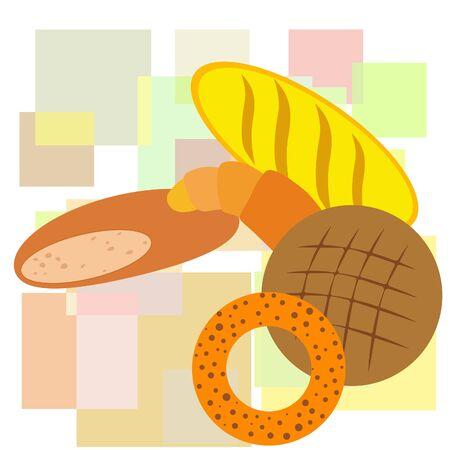 Bakery products banner, vector illustration. Wheat bread pretzel croissant. Illustration