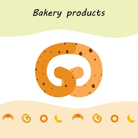 Bakery bread and pastries, bagel and croissant. Vector illustration.