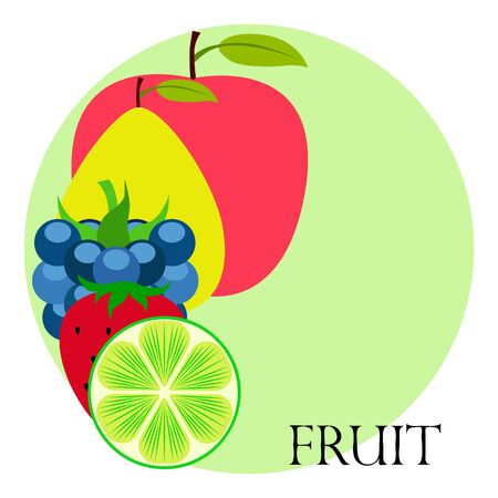 Fruits and berries. Colorful cartoon fruit icons: apple pear blackberry strawberry lime. Vector background.