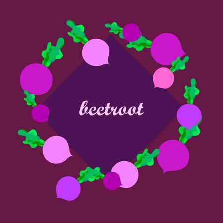 Fresh beet. Organic food poster. Farmer market design. Vector. Illustration