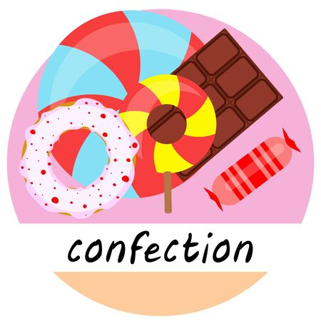 Different sweets colorful background. Lollipops chocolate bar candies donut vector background.
