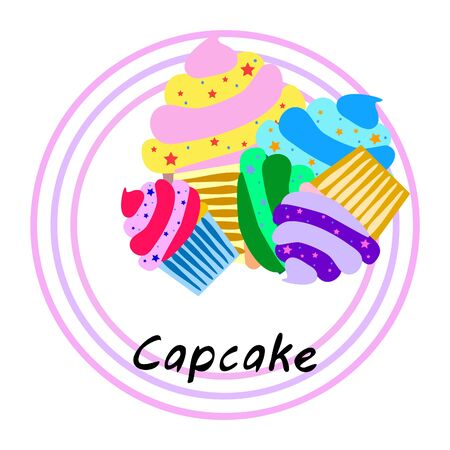 Capcake baking cream berry sweetness dessert. Colorful elements for the menu collection of cafes and restaurants. merry holiday. Ilustração