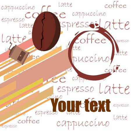 Coffee bean, coffee grinder. Design elements for a cafe. Vector background Ilustração