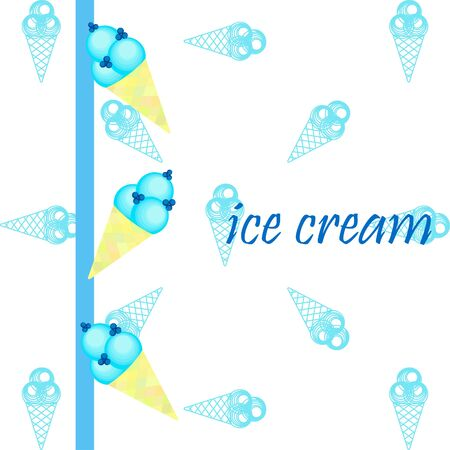 Sweet cartoon ice cream. Vector colorful ice creams