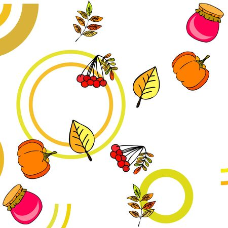 Colorful vector hand drawn doodle cartoon set of Autumn theme items, objects and symbols